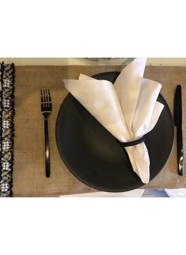 Giz Home E&C Jüt Amerikan Servis 30X50 İncili Siyah 4Lü Renkli